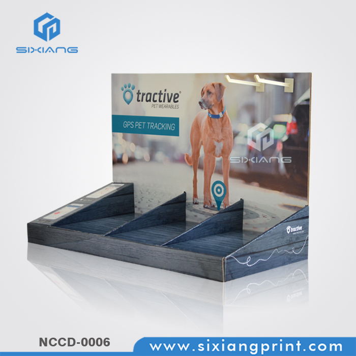 Cardboard Counter Display With Hooks For GPS Pet Tracking