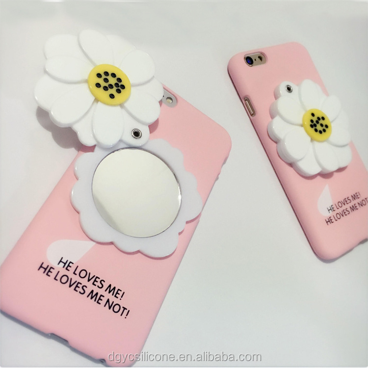 New Design Lady Cosmetic Makeup Silicone Cell Phone Case With Mirror