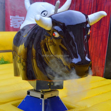 Amusement park mechanical rodeo bull with white smoke and red light eyes with cheap price