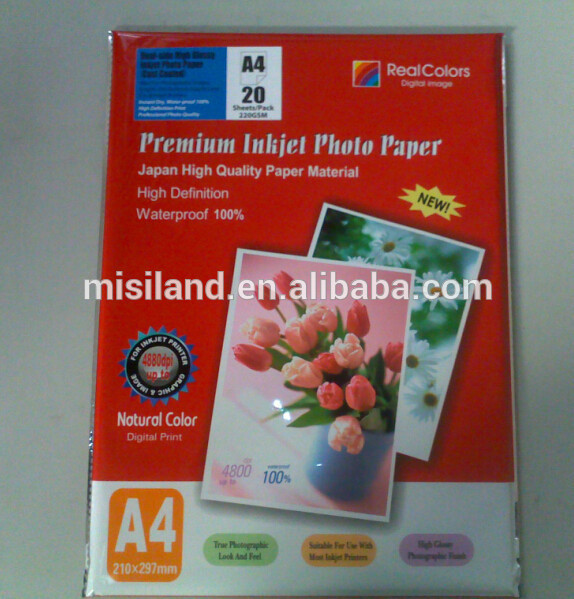 High Glossy cast coated Inkjet Photo Paper (260gsm, dye ink, made in Nanjing)