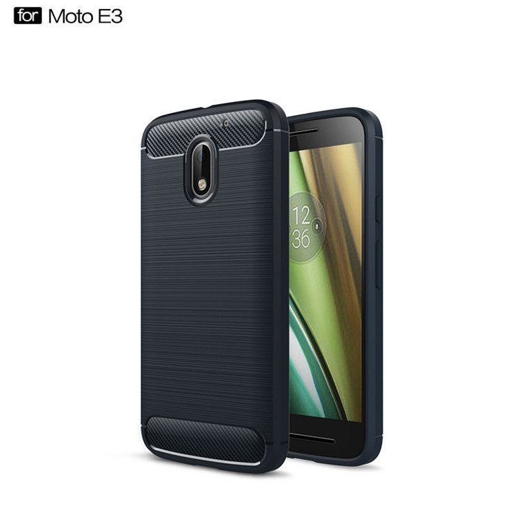 Fashion design shook proof carbon fiber tpu cell phone cover case for Motorola Moto E3