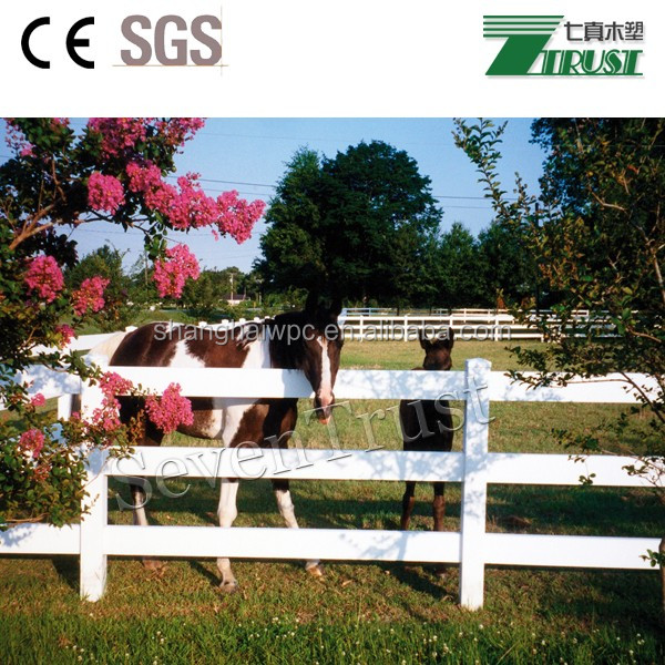 Plastic wood fence garden fence for horse pastures with the post and rail 3 rails