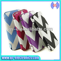 2013 newest fashion wave line style durable PU flip leather phone shell back cover case for iphone5 5G