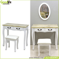 Dressing table set with wall mounting mirror and 2 drawers