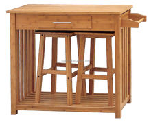Bamboo Kitchen Dinning Table with 2 Chairs