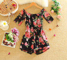 Low price new arrive beach style lady romper off shoulder sexy flower printed women nice jumpsuit