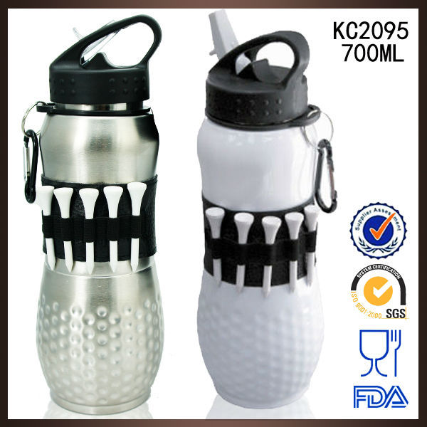 Design Patent Pending-Stainless steel golf water bottle with wooden tees Korea market