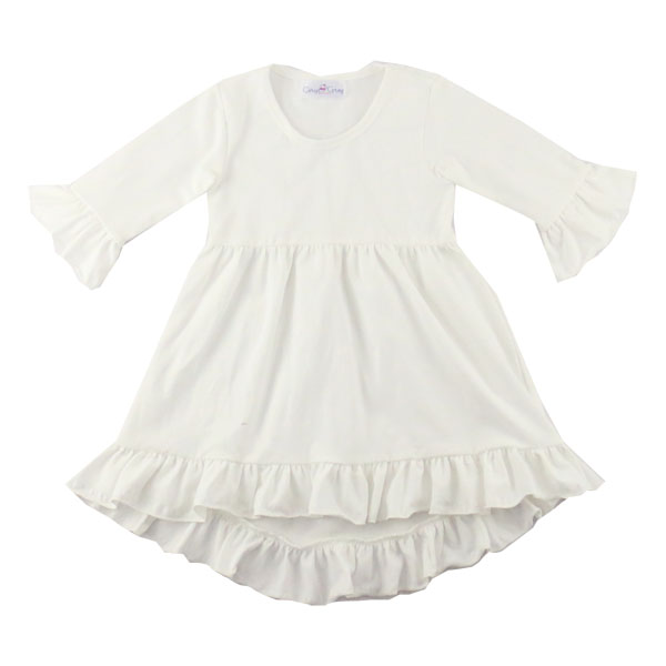 2017 Spring Valentine's lovely long sleeve ruffle white party dress fancy frocks for baby girls white long frocks