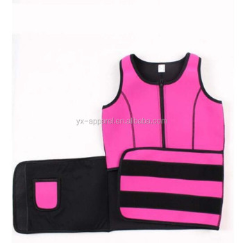 Women neoprene waist trainer tank top vest sauna body shaper with adjustable trainer belt