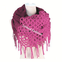 winter fashion womens infinity knitted double sided knit scarf,crochet wave knit scarf,acrylic Cable wave knit scarf