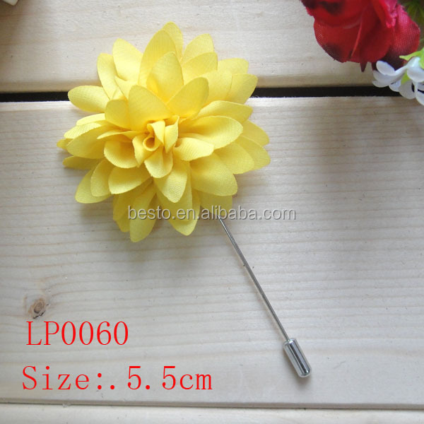 High quality customize fashion fancy solid fabric flower lapel pin for clothes