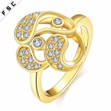 Gold jewelry new design fashion geometrical shape romantic cubic zircon ring for women