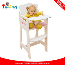 2017 Wooden high Chair baby feeding dolls house furniture sets for kids toy