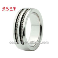 Cool steel rope inlay titanium ring for men