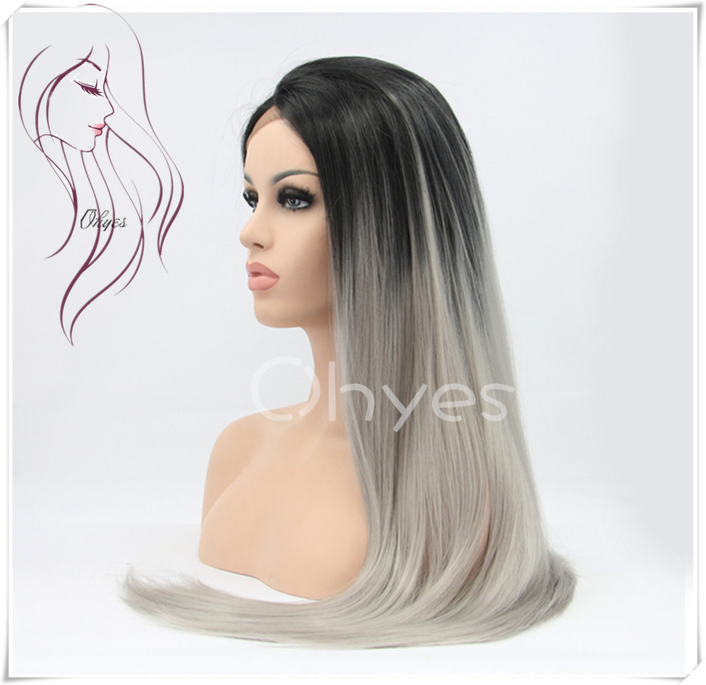 Ohyes 2015 New Arrival Queen Hair Ombre Wigs Synthetic Lace Front Wig Heat Hesistant  Tone Color Black And Grey  Freee Shipping