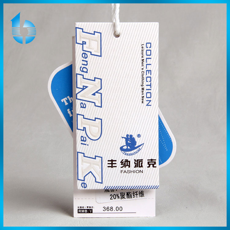 new design hangtag with seal tag for leisure men's clothing