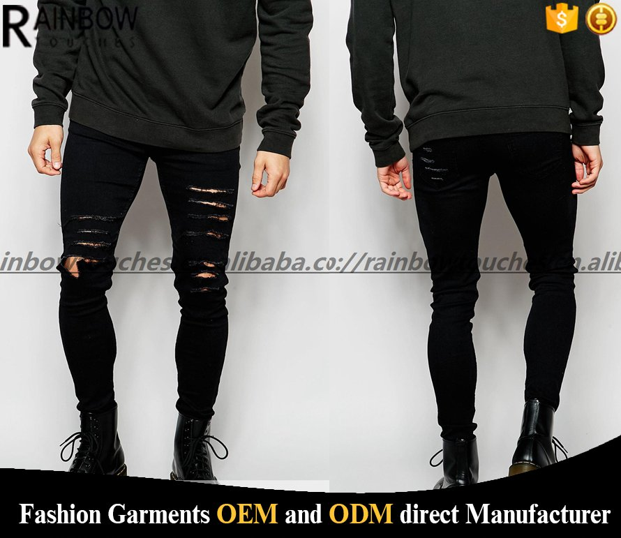 2016 New Style Skinny Stretch Scratch Black Ripped Jeans Pent Men