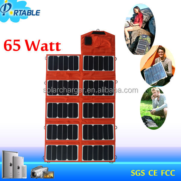 Factory directly! 65W Fabric/Cloth PET sunpower flexible solar panel for laptop,car battery