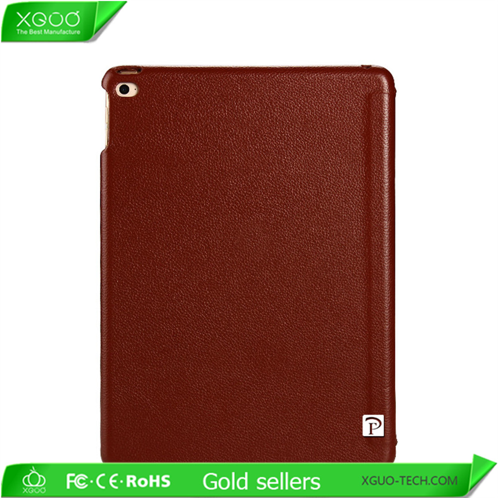 2016 New design red color real leather case for iPad mini and iPad air 2