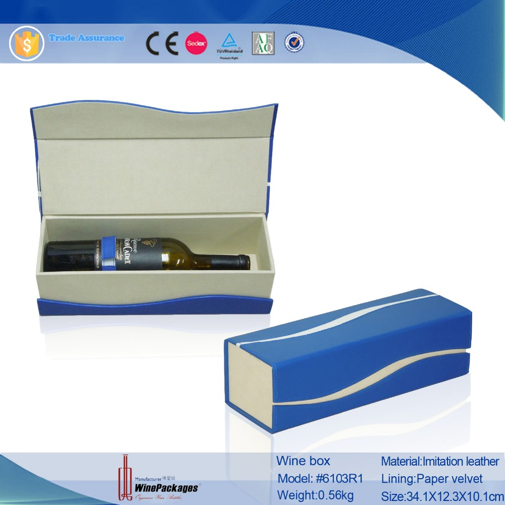 Custom folding leather gift packing box for wine bottle