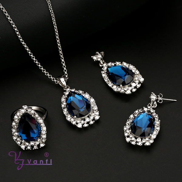 latest model fashion <strong>jewelry</strong> with sapphire crystal blue gemstone jewellery set
