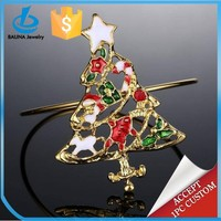 Beautiful christmas tree with many gifts gold plated wire chain colorful enamel bangle
