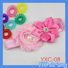 HOGIFT Hot sale handmade cute baby knitted hair band, baby crochet fabric lace flower headband
