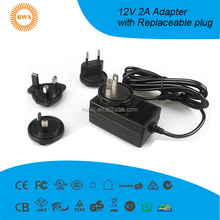 12V 2A power adapter AC/DC 100-240v Switching Power Supply with detachable plug