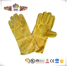 FTSAFETY yellow Cow Split Full Palm Long Cuff Leather Glove