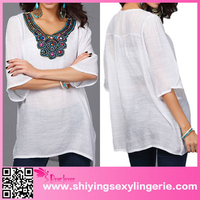 China Wholesale Bohemian Embroidery Beading Crepe White Blouse To