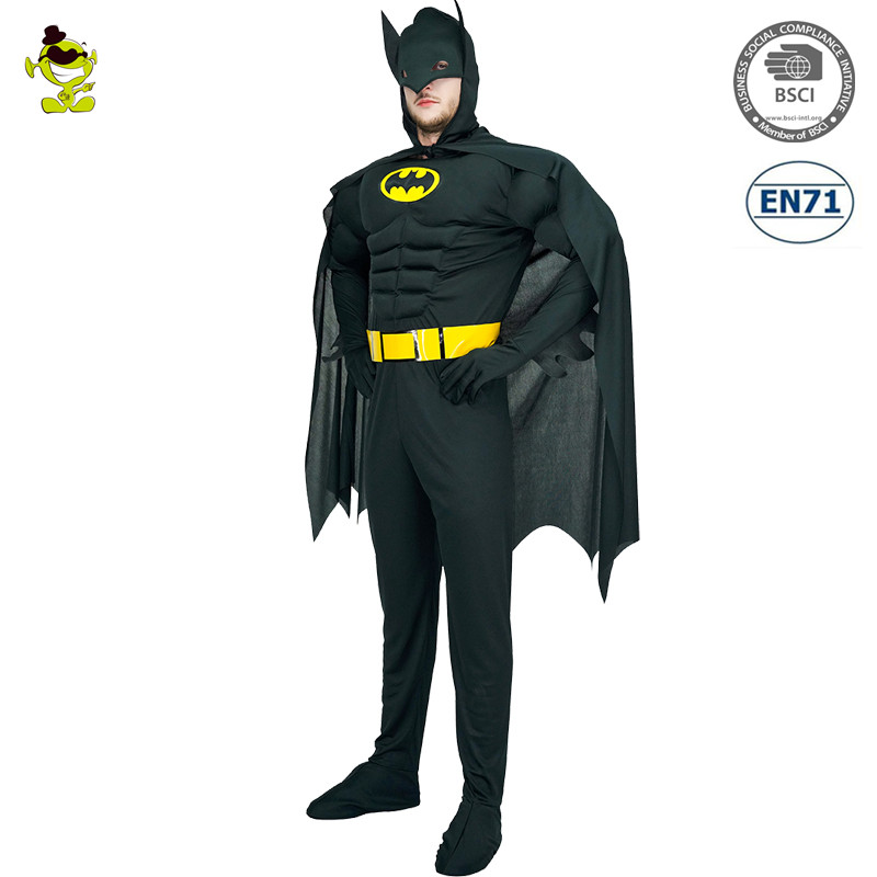 New Arrival Bat Costume Adults Deluxe Muscle Dark Knight Cosplay Halloween Party Fancy Dress Man Superhero Carnival Costume