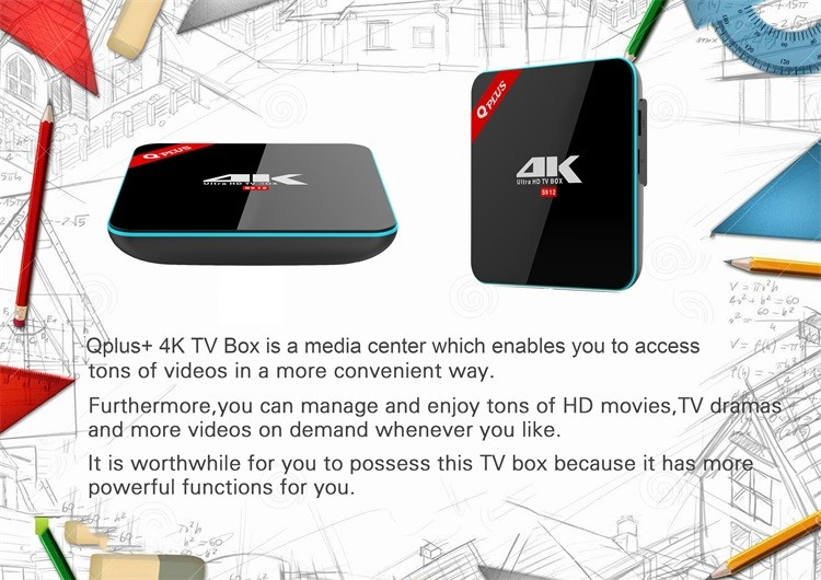 H96 Pro Q Plus Android 6.0 OS Kodi TV Box Amlogic S912 Tv Box Octa-Core 3G/32G IPTV Receiver