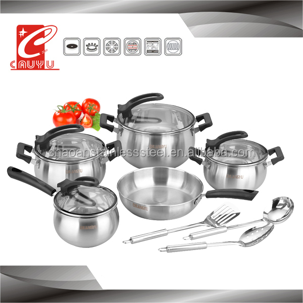 12 pcs stainless steel metal cooking pots