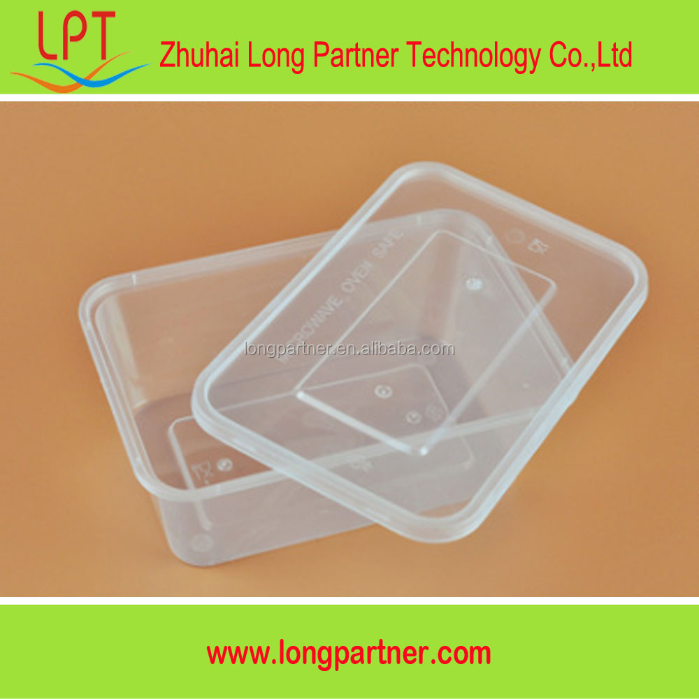 Zhuhai manufacturer clear PP plastic food container rectangular with lid