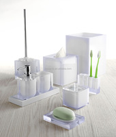 Fashionable White Transparent double crystal resin bathroom Accessories Sets - 9 pcs