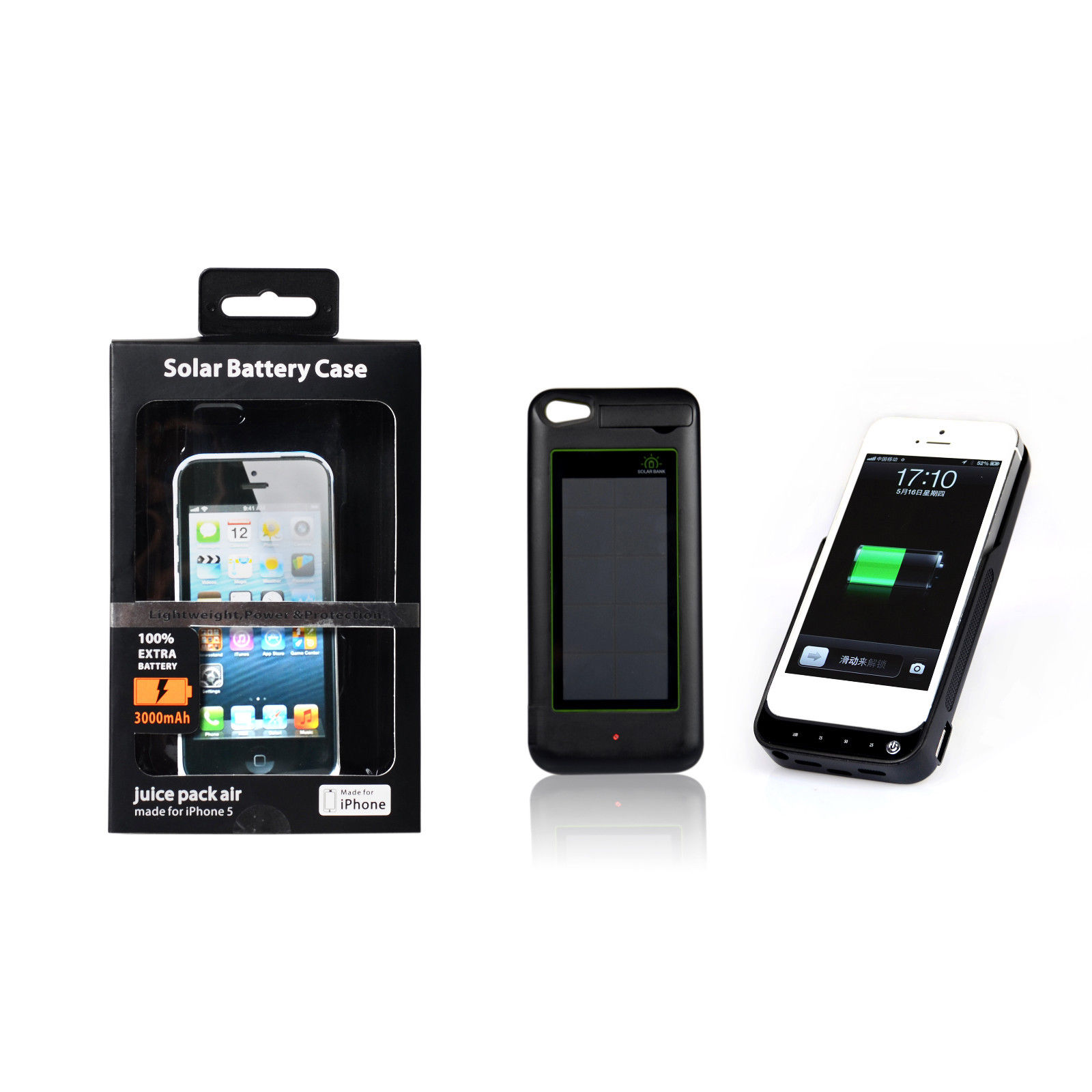 SOLAR External Battery Case Cover Skin Charger 3000mAh Power Bank for iphone