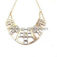 Gold plating shiny white crystal cross necklace