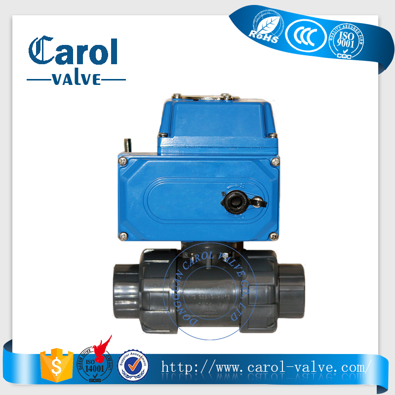 2 way motorized PVC electric ball valve with actuator