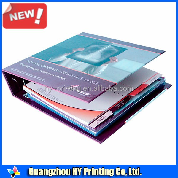 Colorful 4c printed designs laminated hard cover file folder with divider