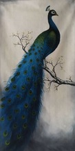 100% hand made peacock canvas oil painting art