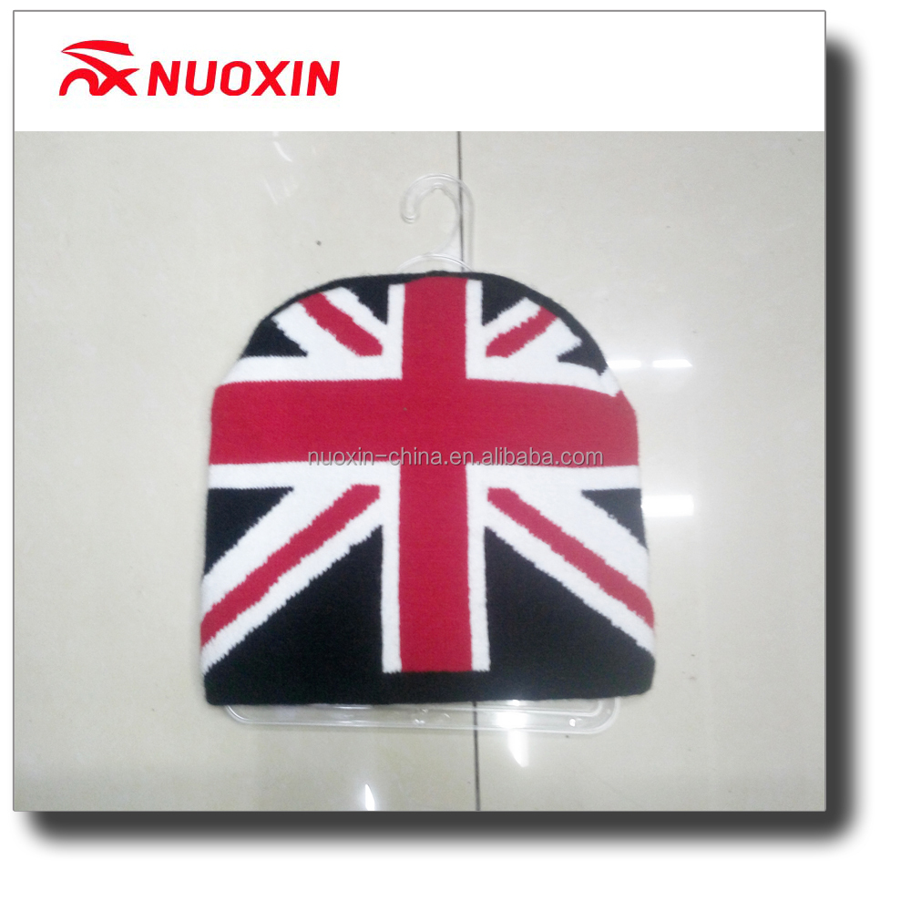 NX Jacquard winter UK knitted hat with patch embroidery