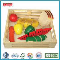 wooden play food toy,wooden cutting set toy