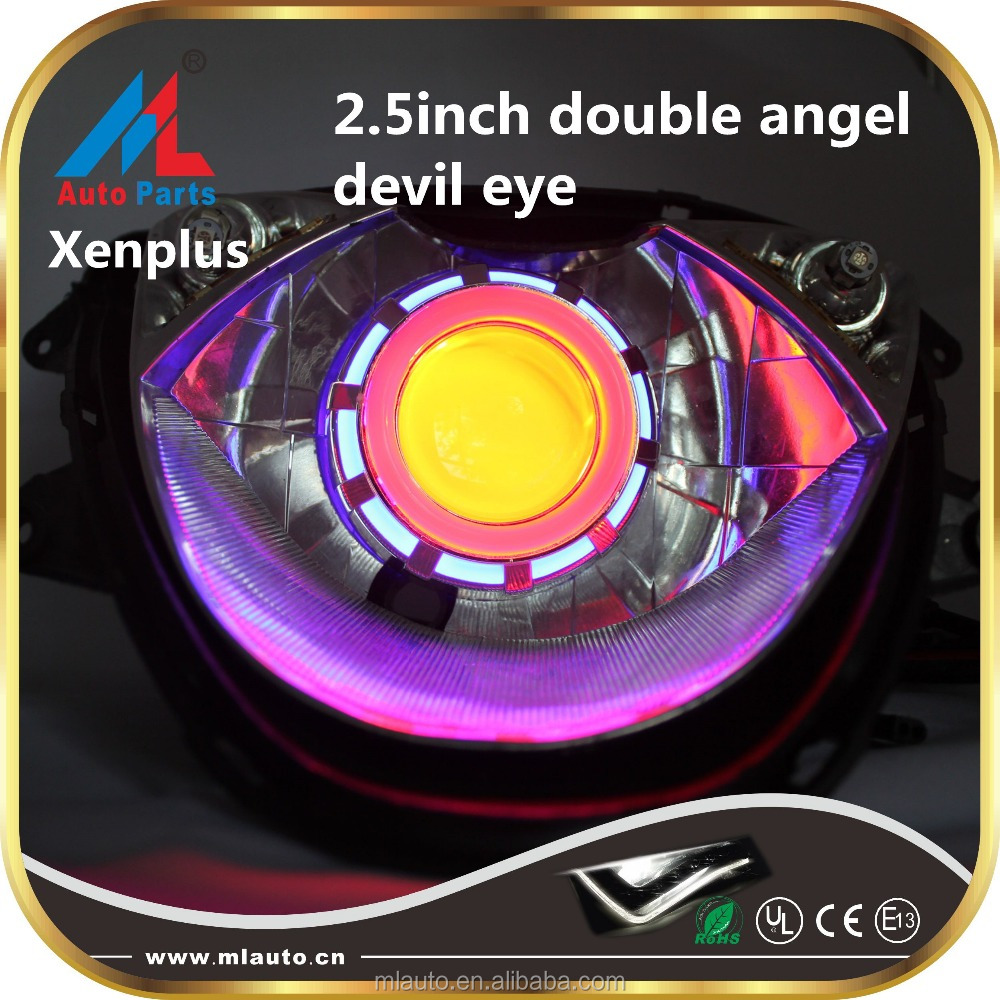 Colorful cotton double angel eyes 2.5 inch motorcycle projector lens cob led light with devil eyes headlights
