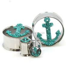Double Flared Gemmed Anchor Ear Tunnel Piercing