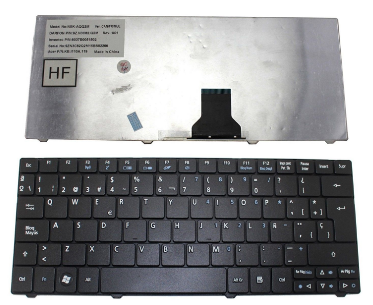 High Quality Keyboard For Acer one 751H 721 722 722H 751 752 753 series laptop keyboard SP LA layout