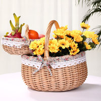 Small and convenient outing essential wicker fruit flowers basket