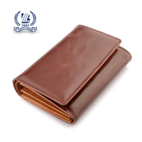 glossy bifold brown men's pu leather wallet with zipper coin purse,