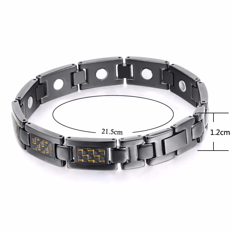 Neodymium Carbon Fiber Bracelet Magnetic Titanium Jewelry, 4 in 1 or Full Magnets