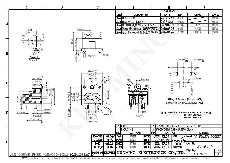 2 pin iec60320 c8 tipo de socket conector de alimentaci u00f3n