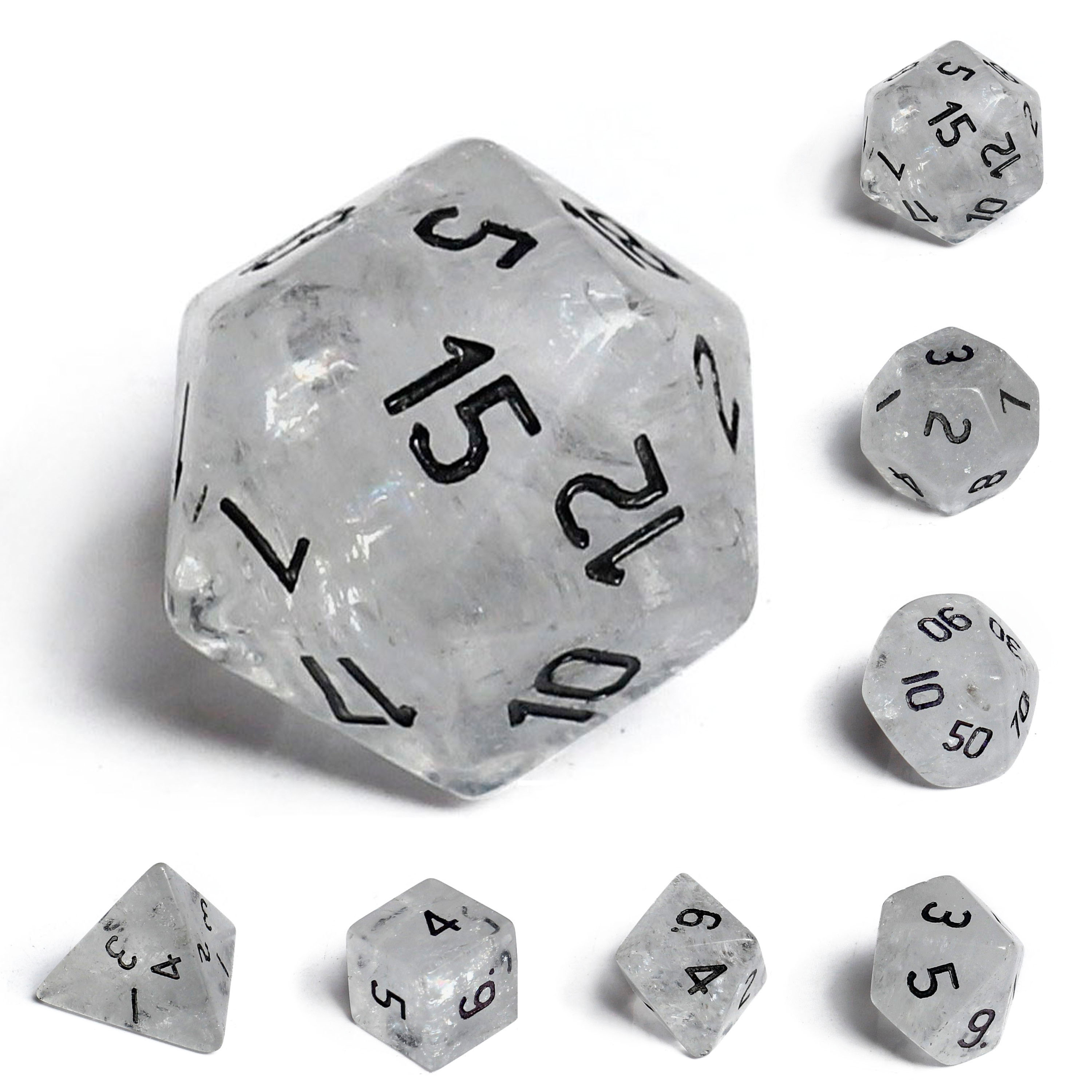 Engraved Clear Quartz Gemstone Dice Dungeons Dragons DND RPG 7 Piece Set